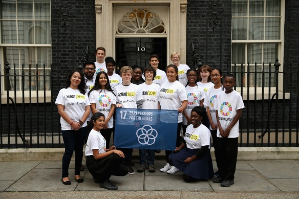 17 children and young people delivered and helped raise the first non-governmental flag at Number 10 Downing Street, representing Partnerships For the Goals, to support the UN Global Goals for Sustainable Development.
