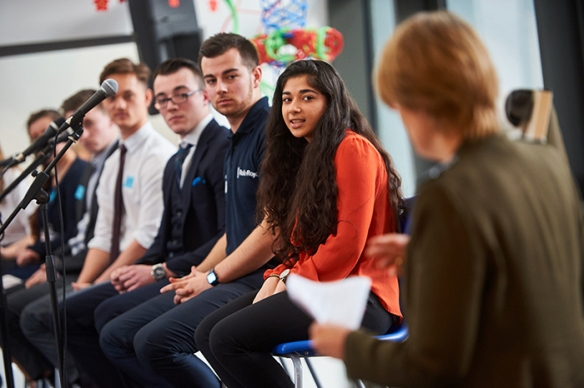 16.03.16  Harrow UK. As part of National Apprenticeship Week Christine Hodgson, CEO of Capgemini and Chair of The Careers & Enterprise Company speaks at an 'Ask the Apprentice' event attended by young people at Harrow College. Photo: Professional Images/@ProfImages