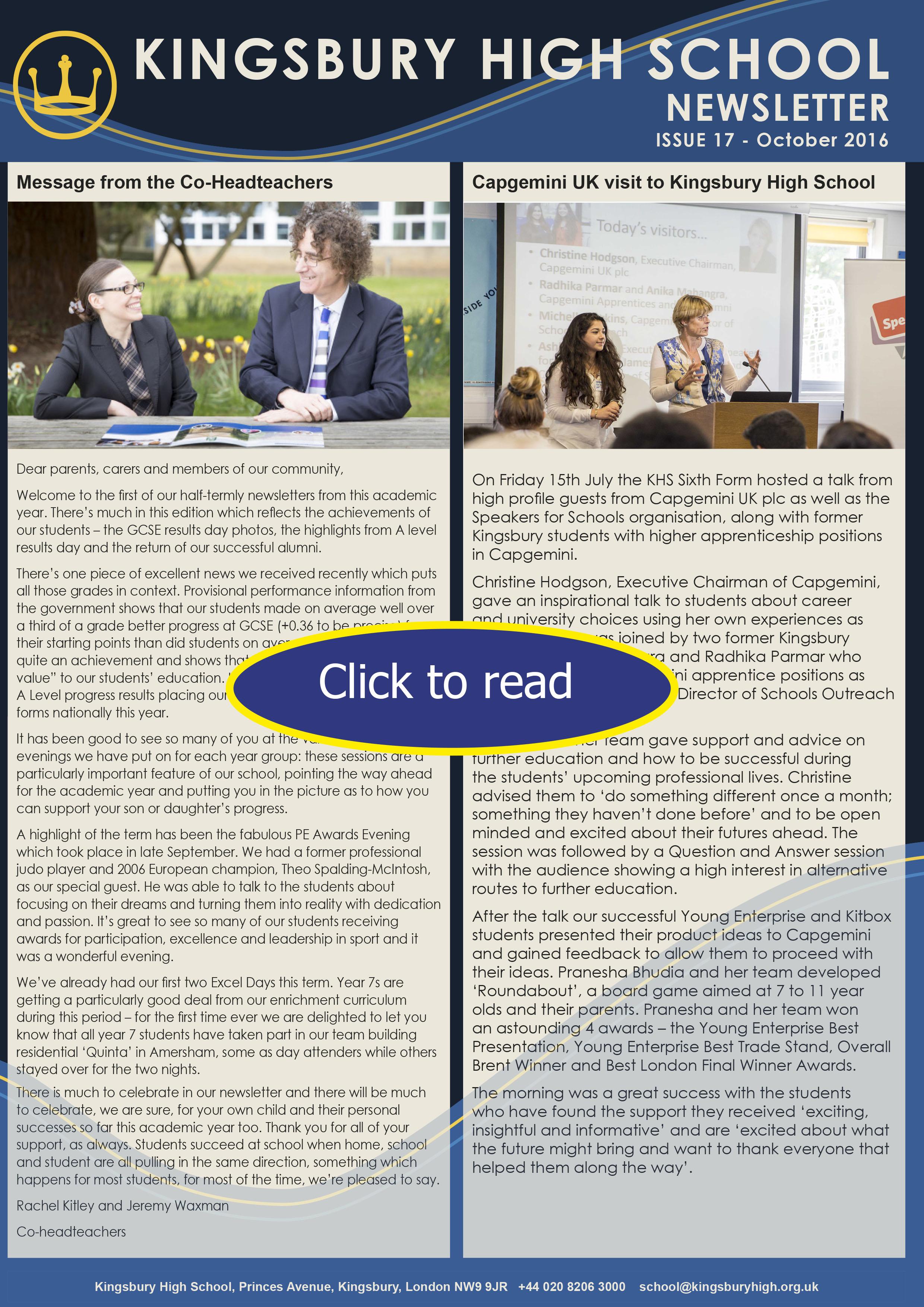 kingsbury high school newsletter issue 17 october 2016 kingsbury